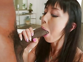 Large Dark shlong drilling an Oriental anal balls unfathomable
