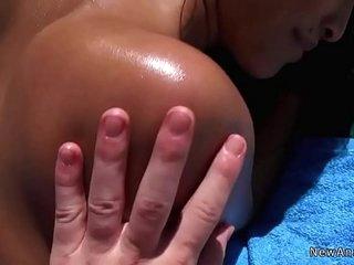 Asian gf anal fucks at poolside