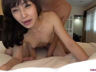 Bareback creampie with Asian MILF