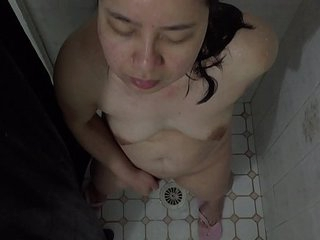 Asian MILF - Showering & Pussy Playing