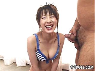Cute Asian babe hot blowjob