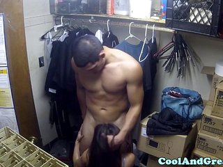 Highheeled asian cumswallows after hard fuck