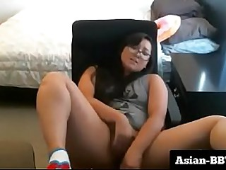 Chubby Asian Slut Stuffing her Pussy with Dildo - more at Asian-BBW.com