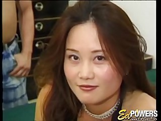 Asian debutante banged hard in threesome