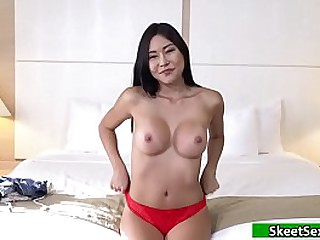 Teen asian sucking and fucking big cock for cash