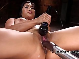 Big tits and big booty brunette Asian solo hottie Mia Li naked with spreaded legs masturbates with Hitachi