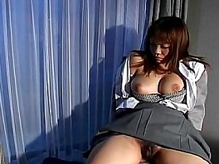Asian with hairy pussy gets toyed by green vibrator