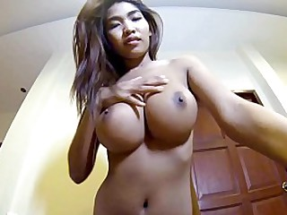 Busty asian babe masturbates alone