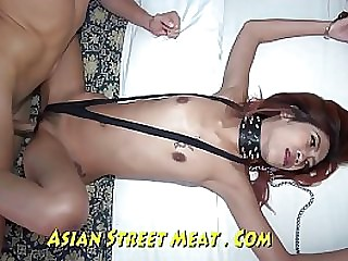 Asian whore gets ass fucked and swallows cum