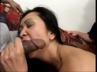 Sexy asian Kat gets good pussy fucking by two dudes