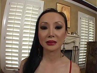 Asian MILF Ange Venus sucks and fucks a stud on the sofa
