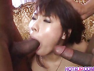 Masami Abe sucks dicks in interracial fuck