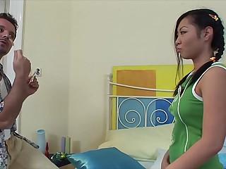Lollipop loving Asian teenager Courtney rides big veiny dick deep & hard