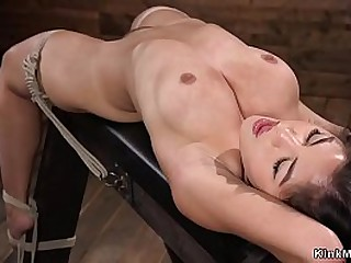 Hairy pussy dark haired Asian beauty Kendra Spade in rope bondage on the bench laid and whipped