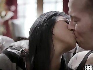 Big tits Asian MILF fucked and sucked a tattooed friend with big cock