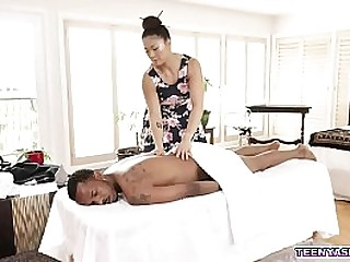 Asian masseuse Nyomi Star massage a big black dick