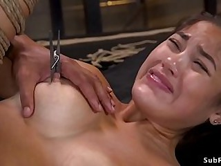 Hairy pussy busty Asian slave anal banged in rope bondage